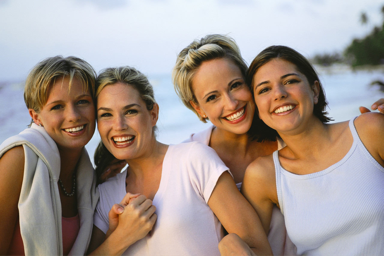 Four Women Friends at the Beach