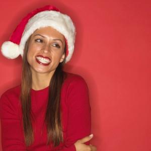 Festive Woman in Red Santa Hat