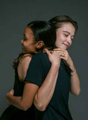 happy women hugging